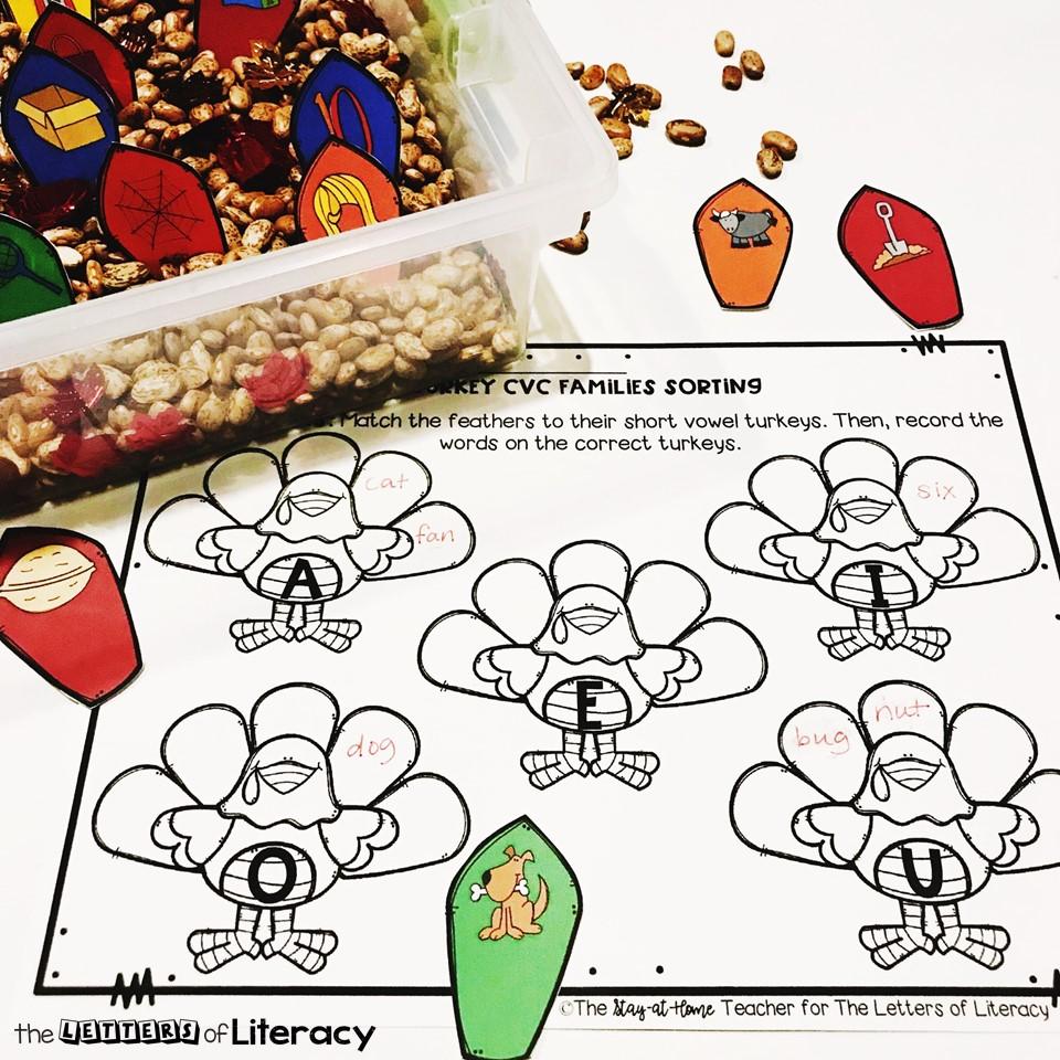 Thanksgiving CVC Sensory Bin and FREE Printables for Kindergarten!