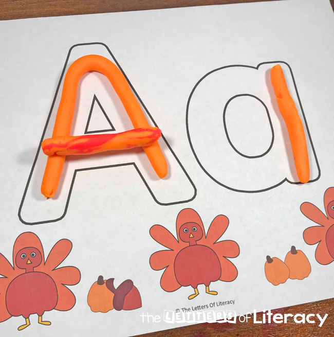 Turkey Full Alphabet Play Dough Mats For Strengthening Upper and Lowercase Letter Skills For Kindergarten