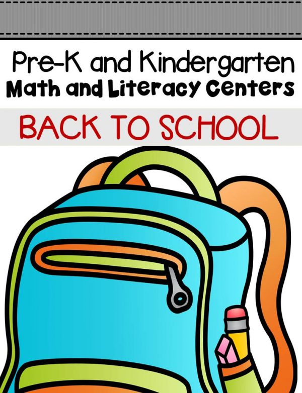 This pack is filled with engaging math and literacy centers for Pre-K and Kindergarten students with a Back to School theme.