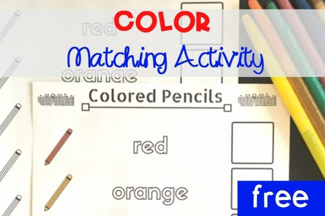 Colored Pencils Color Matching Activity, free printable for pre-K and Kindergarten