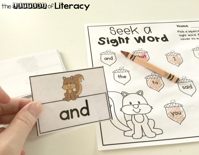Editable Fall Sight Word Activity, FREE Printable for kinder and 1st grade