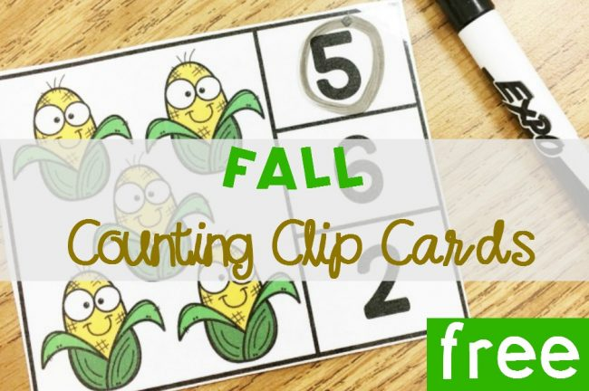 Fall Counting Clip Cards