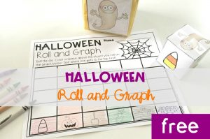 Halloween Roll and Graph, FREE printable math center for kindergarten this fall!