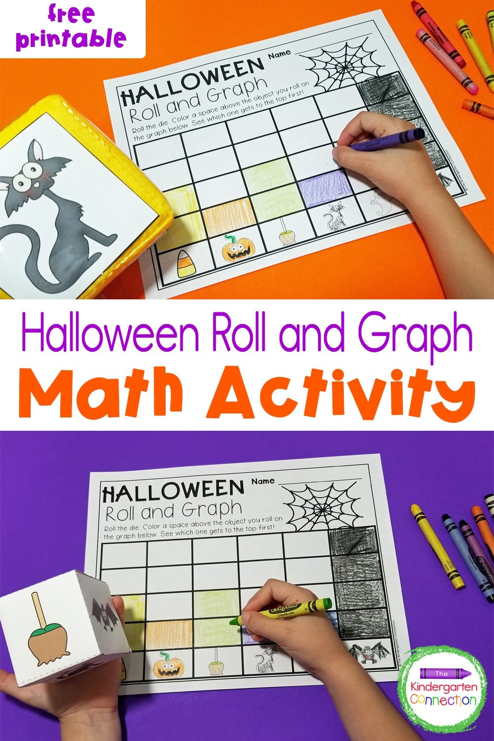 Grab our free printable Halloween Roll and Graph Math Activity! It's perfect for children in Pre-K and Kindergarten!