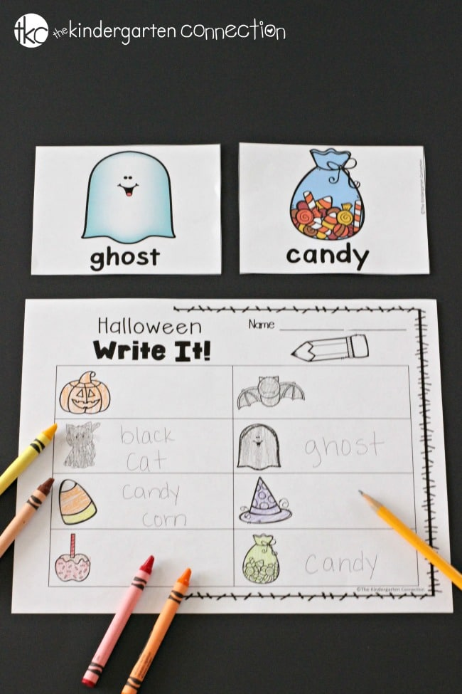 Halloween Writing Centers for Kindergarten- Write It!