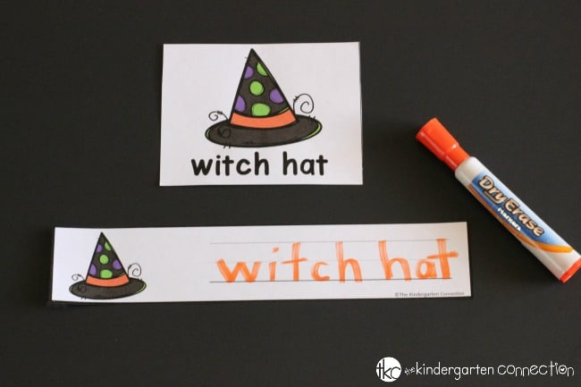 Halloween Writing Centers for Kindergarten- Vocabulary sentence strips