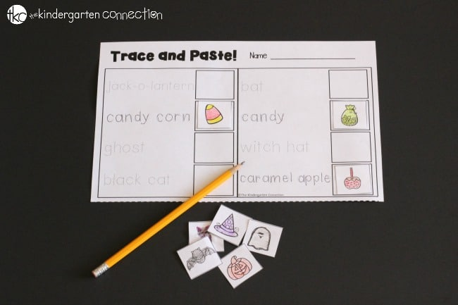 Halloween Writing Centers trace and paste