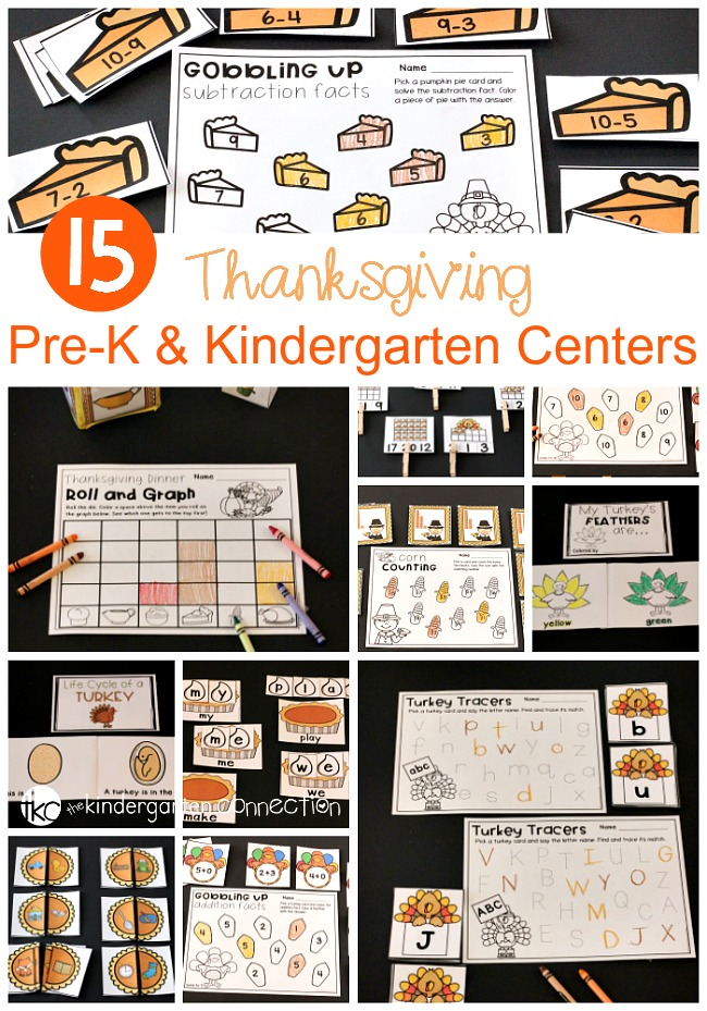 Thanksgiving Math and Literacy Centers for pre-K and Kindergarten