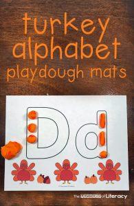 Turkey Full Alphabet Play Dough Mats For Strengthening Upper and Lowercase Letter Skills For Kindergarten