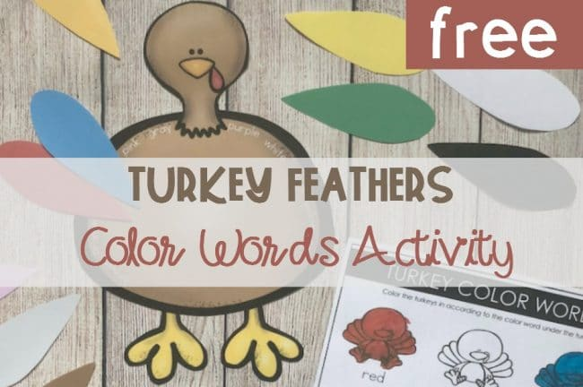 FREE Printable Thanksgiving Turkey Feathers Color Words Activity for Kindergarten