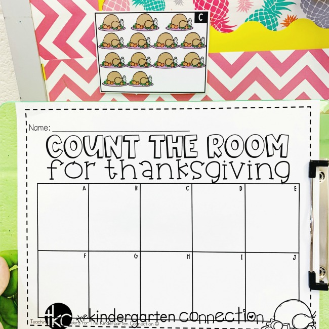 FREE Printable Thanksgiving Count the Room for Number 11-20, Kindergarten math center activity.