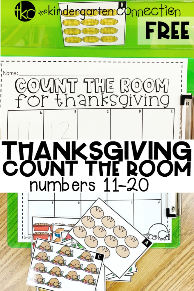 FREE Printable Thanksgiving Count the Room for Number 11-20, Kindergarten math center activity