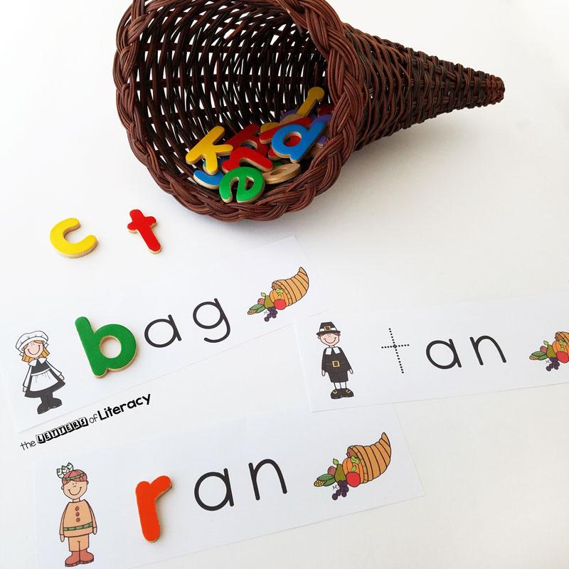 Thanksgiving CVC Activity, FREE Printable for Kindergarten!