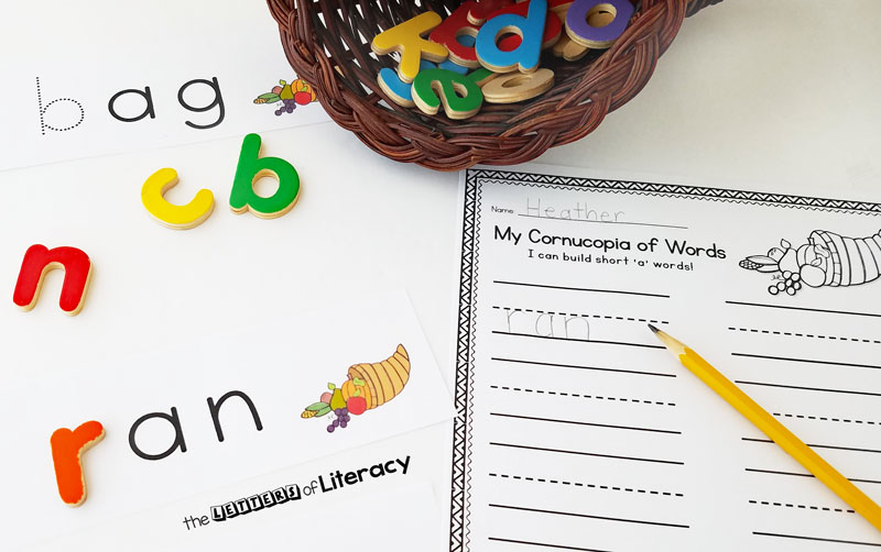 Thanksgiving CVC Activity, FREE Printable for Kindergarten!