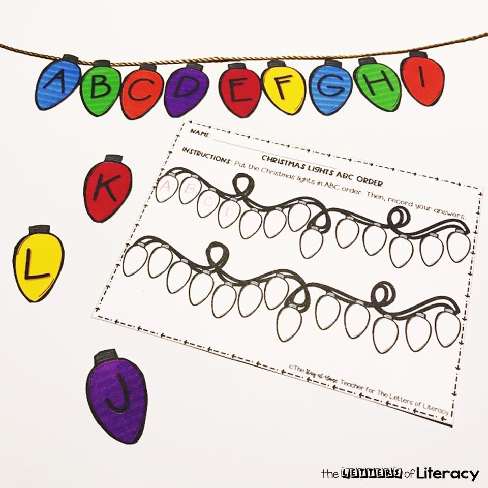FREE Christmas Lights ABC Order Sensory Bin Printables for Kindergarten!