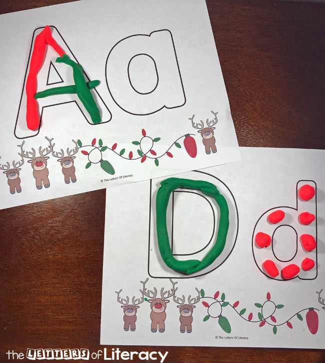 Christmas Alphabet Play Dough Mats, FREE Printables for Pre-K and Kindergarten!