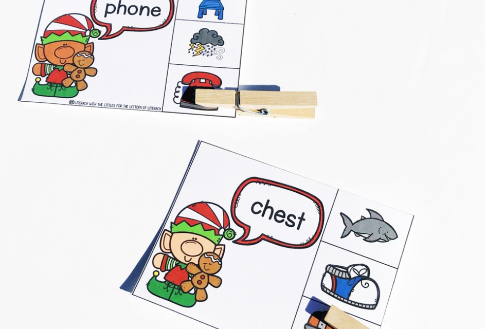 Christmas Beginning Digraph Clip Cards