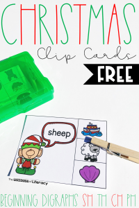 FREE Printable Christmas Beginning Digraph Clip Cards for Kindergarten!