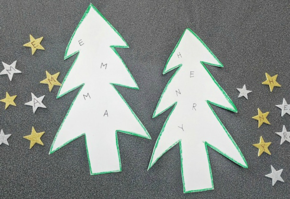 Christmas Tree Name Building Activity, easy prep for preK and Kinder