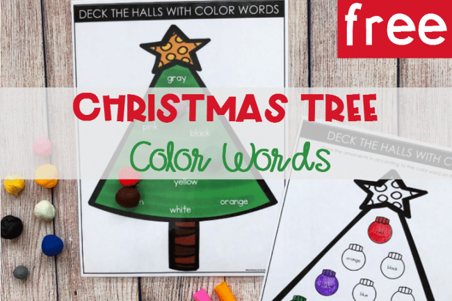 FREE Printable Christmas Tree Color Words Activity