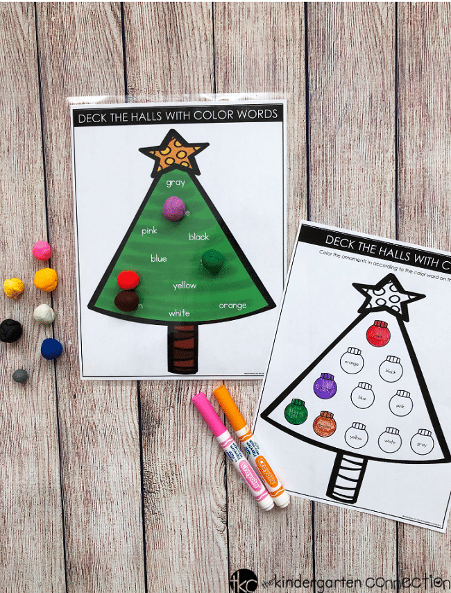FREE Printable Christmas Color Words Activity for Kindergarten!