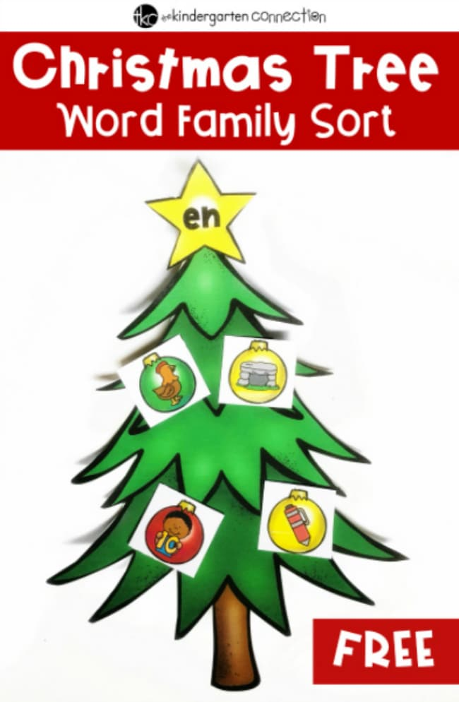 This free Christmas Tree Word Family Picture Sort printable is a fun activity that kindergarteners will love! It is the perfect activity to use in your literacy centers or small groups.