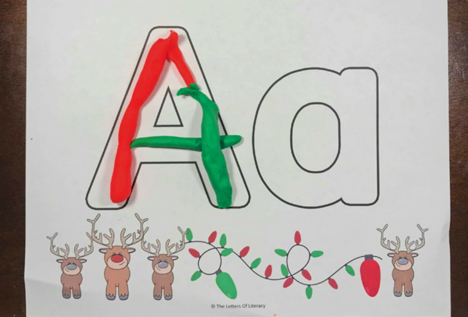 FREE Printable Christmas Alphabet Play Dough Mats