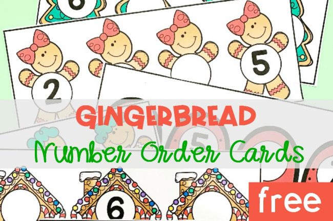FREE Printable Gingerbread Number Order Cards for Pre-K and Kindergarten!