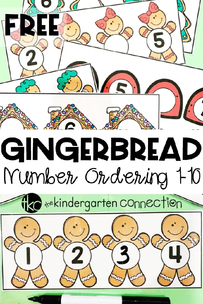This free Gingerbread Number Order Activity focuses on number identification, number formation, and the ordering of numbers. It is the perfect addition to your holiday or Christmas centers!