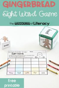 Gingerbread Sight Word Game, free printable for Kindergarten