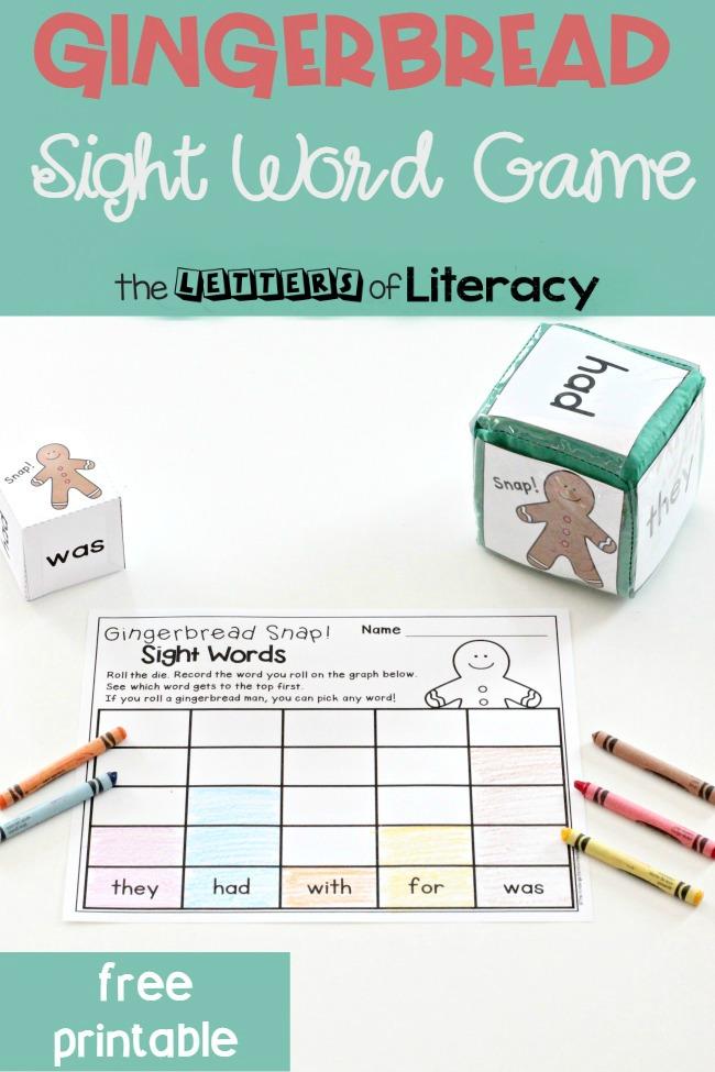 Gingerbread Sight Word Game, free printable for Kindergarten