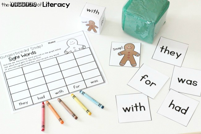 Gingerbread Snap Sight Words Game for kindergarten or 1st grade!