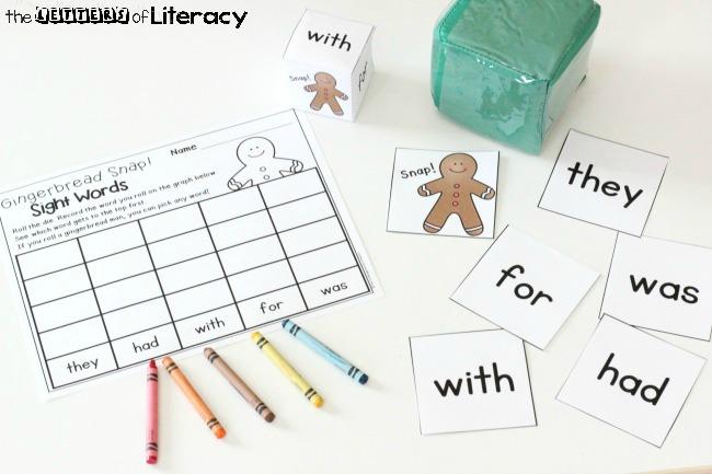 Gingerbread Snap Sight Words Game for kindergarten or 1st grade!