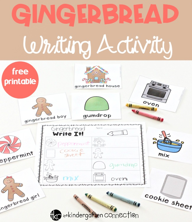 Gingerbread Writing Activity FREE printable for Kindergarten