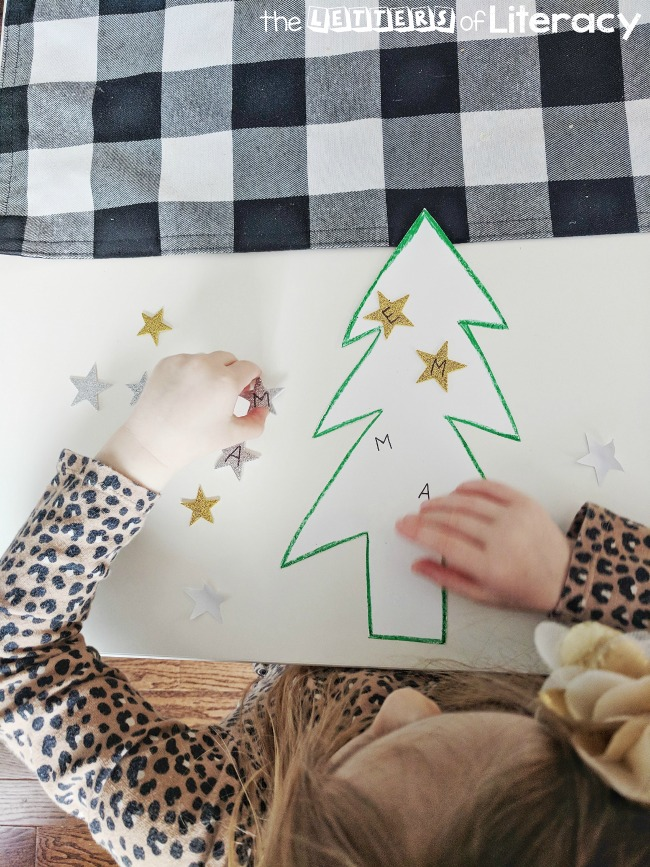 Christmas Tree Name Building Activity for Pre-K and Kindergarten! Use materials you already have on hand!