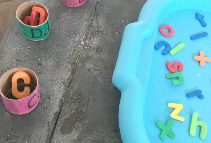 Recycled Cardboard Roll Alphabet Match Activity