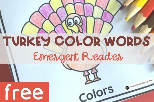 Turkey Color Words Emergent Reader Book