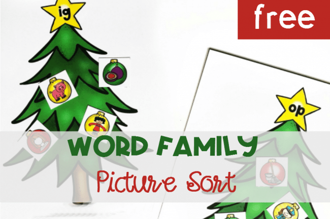 Christmas Tree Word Family Picture Sort