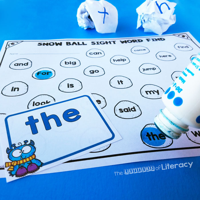 FREE Snowball Sight Word Activity for Kindergarten!