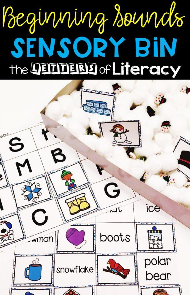 Winter Beginning Sounds Sensory Bin with FREE Printables for Kindergarten literacy centers!