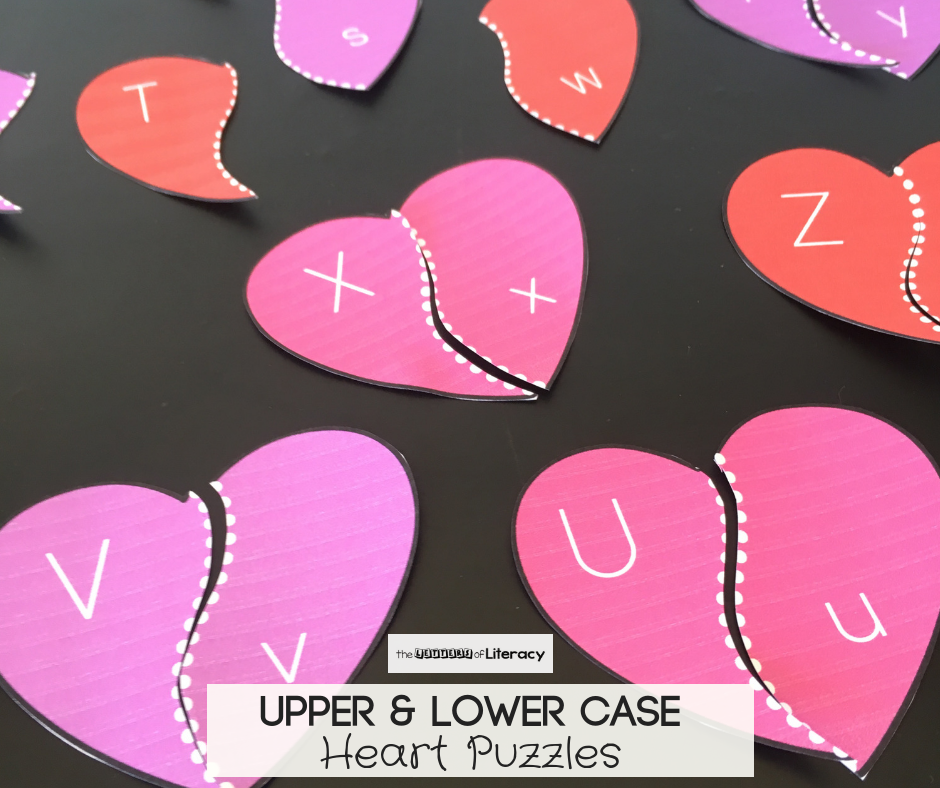 FREE Printable Valentine Alphabet Heart Puzzles for literacy center in pre-k and kindergarten for the month of February!