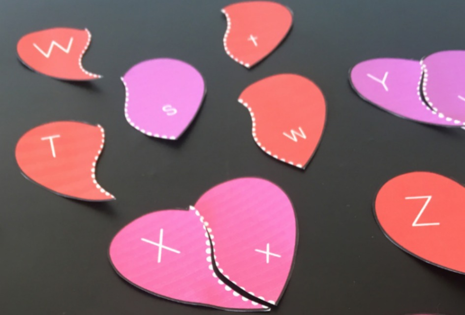 FREE Valentine Alphabet Heart Puzzles