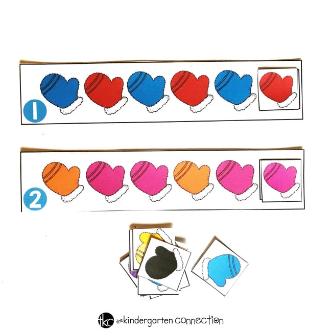 Free Printable Winter Mittens Color Pattern Activity for Kindergarten!