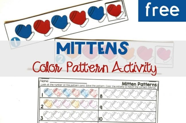 FREE Printable Mittens Color Pattern Activity for Kindergarten Math Center!