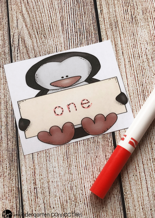 FREE Printable Penguin Tracing Number Words for Kindergarten Math Centers!
