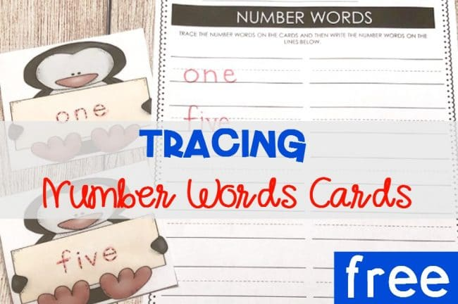 FREE Printable Penguin Tracing Number Words Cards for Kindergarten