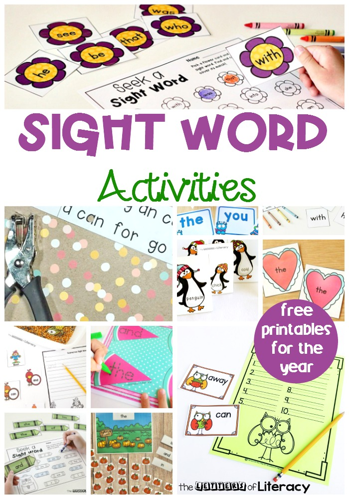 FREE Printable Sight Word Activities for Kindergarten