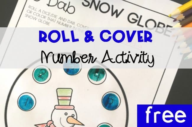Roll and Cover Snow Glober Number Activity