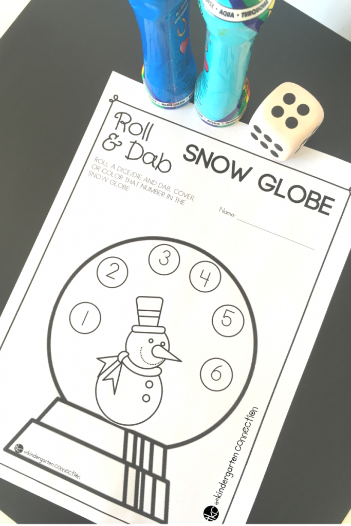 This free Roll and Cover Snow Globe Number Activity is perfect for Pre-K and Kindergarten! It adds a fun, wintry twist to your math centers!