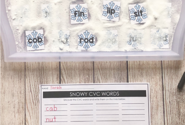 Snow CVC Words Sensory Bin